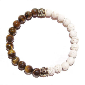 Brown & Cream Men's Gemstone Stretch Bracelet - Tiger's Eye, Howlite / Antique Gold - Ap. 22cm