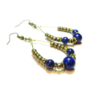 Blue Lapis Lazuli Gemstone & Antique Brass Hoop Earrings