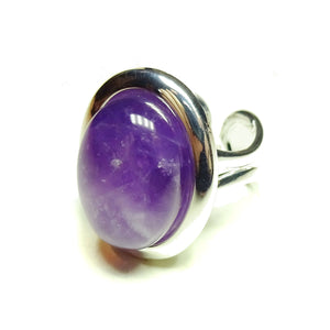 Purple Amethyst Classic Semi-precious Gemstone Adjustable Ring 23 x 17mm