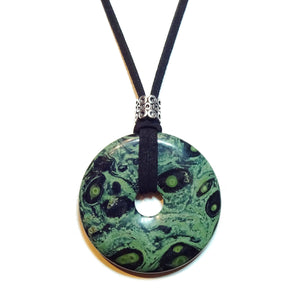 Green & Black Kambaba Jasper Large Round Gemstone Pendant - 50mm