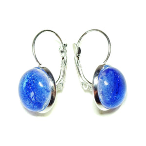 Sky Blue Dichroic Glass Lever Back Earrings