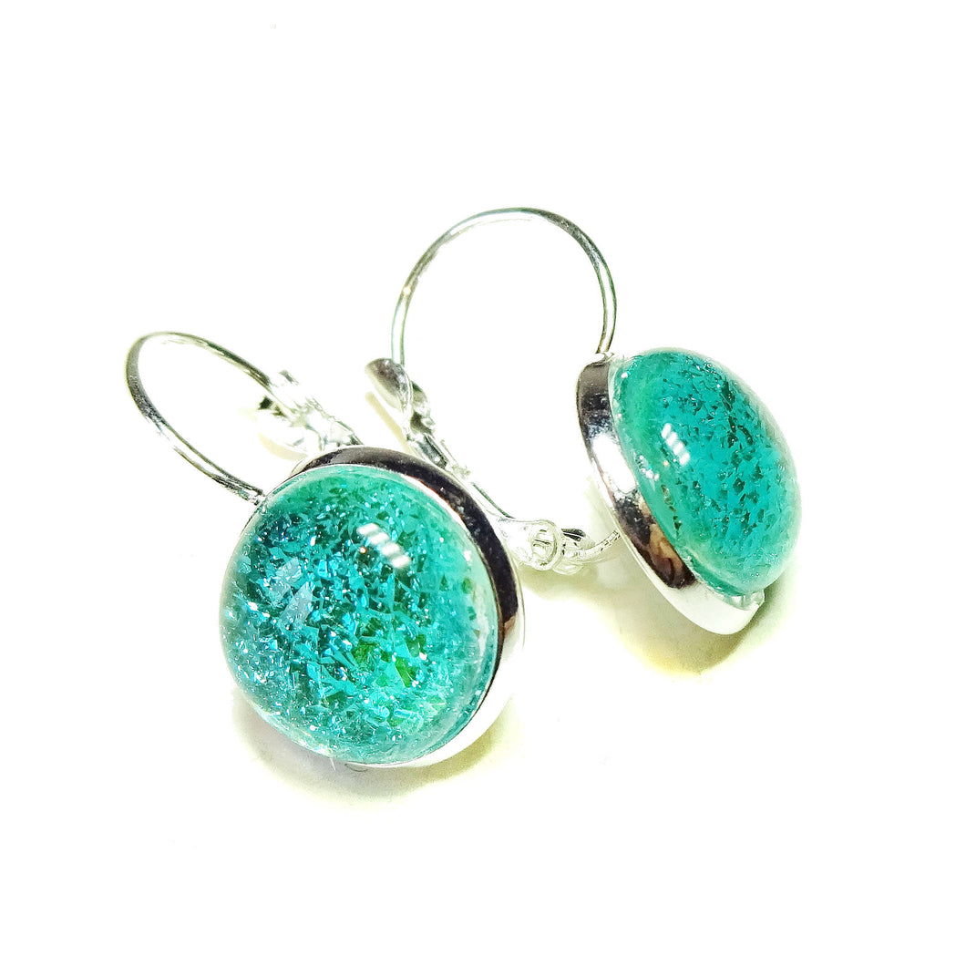 Sea Blue Dichroic Glass Lever Back Earrings