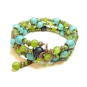 Olive Green, Turquoise, Copper & Lava Essential Oil Diffuser Bangle