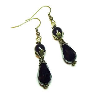 Black and Brass Vintage Style Faceted Crystal & Swarovski Pearl Earrings