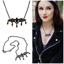 Load image into Gallery viewer, Black Bat Necklace w Black Onyx & Swarovski Crystals