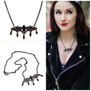 Black Bat Necklace w Black Onyx & Swarovski Crystals