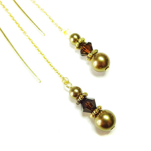 Antique Bronze & Mocca Swarovski Pearl Gold Vermeil Long Drop Chain Ear Threads - 170mm