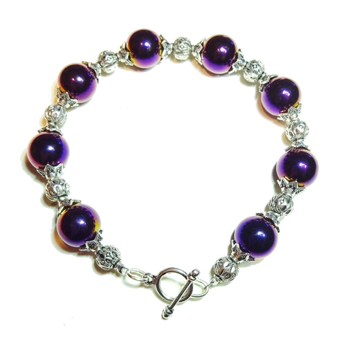 Purple Metallic Haematite Bracelet 19.5cm