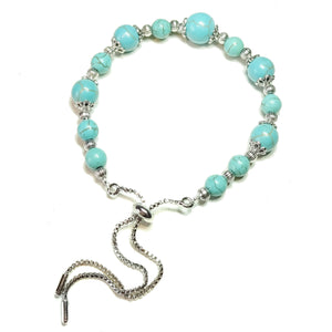 Blue Turquoise Gemstone Slider Chain Bracelet