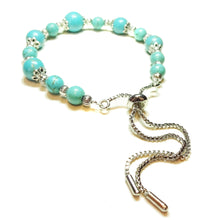 Load image into Gallery viewer, Blue Turquoise Gemstone Slider Chain Bracelet