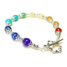 Load image into Gallery viewer, Semi-precious Gemstone Rainbow Chakra / Meditation Bracelet 21cm