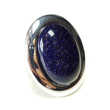Load image into Gallery viewer, Large Blue Goldstone Gemstone Statement Ring - Adjustable 33 x 25mm