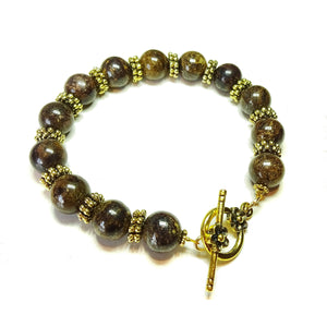 Brown Bronzite Gemstone & Antique Gold-Tone Bracelet 20.5cm