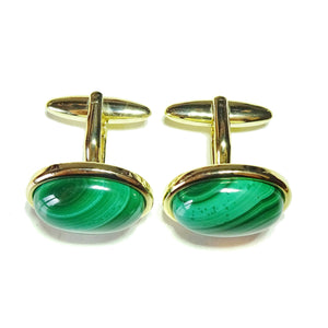 Green Malachite Semi-precious Gemstone Cabochon Cufflinks - Silver or Gold Plated