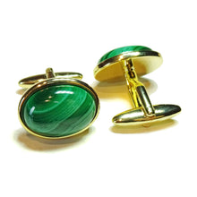 Load image into Gallery viewer, Green Malachite Semi-precious Gemstone Cabochon Cufflinks - Silver or Gold Plated