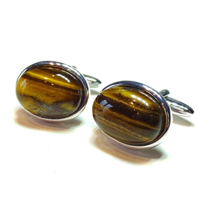 Brown Tiger's Eye Semi-precious Gemstone Cufflinks - Silver Plated