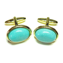 Load image into Gallery viewer, Blue Gemstone Cufflinks - Faux Turquoise