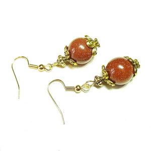 Brown Goldstone & Antique Gold-Tone Earrings