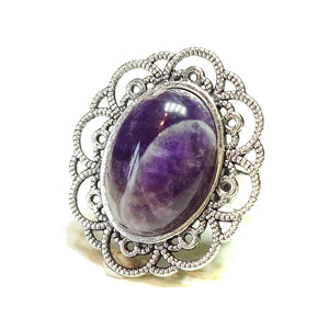 Purple Amethyst & Antique Silver-Tone Filigree Ring