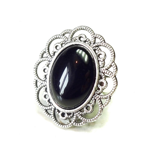 Black Onyx & Antique Silver-Tone Filigree Ring