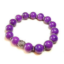 Load image into Gallery viewer, Rich Purple Mountain Jade Gemstone Handcrafted Stretch Bracelet - 21cm