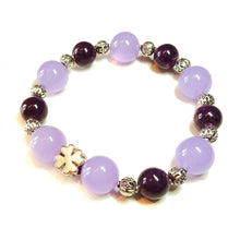 Load image into Gallery viewer, Purple & Lilac Jade Gemstone Stretch Bracelet w/ Four Leaf Clover Charm Approx. 20cm