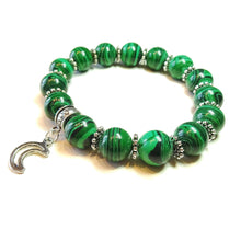 Load image into Gallery viewer, Green Malachite & Tibetan Silver-Tone Handcrafted Stretch Bracelet Approx. 20.5cm
