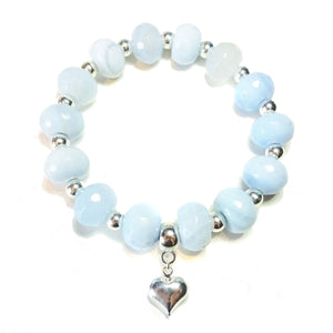 Swiss Blue Agate Gemstone Stretch Bracelet - 21cm