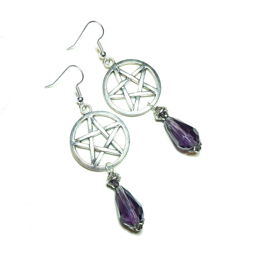 Gothic Pentagram Earrings with Purple Crystal