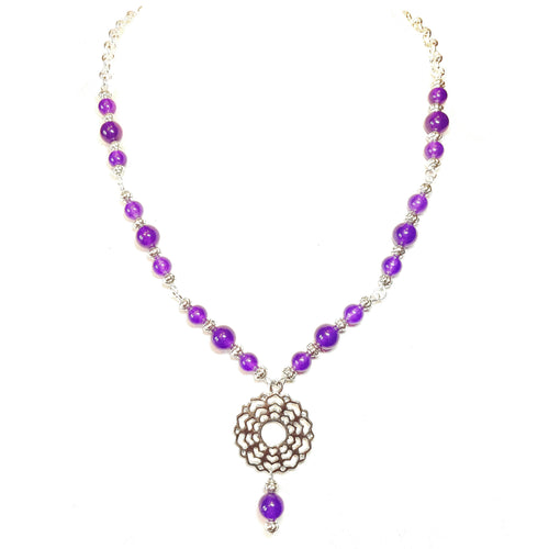 Semi-precious Gemstone Crown / Sahasrara Chakra Necklace - Purple Quartz