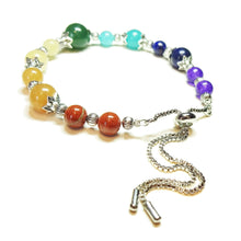 Load image into Gallery viewer, Chakra / Rainbow Gemstone Slider Chain Bracelet