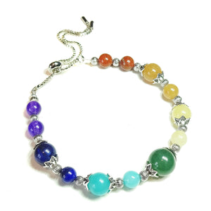 Chakra / Rainbow Gemstone Slider Chain Bracelet