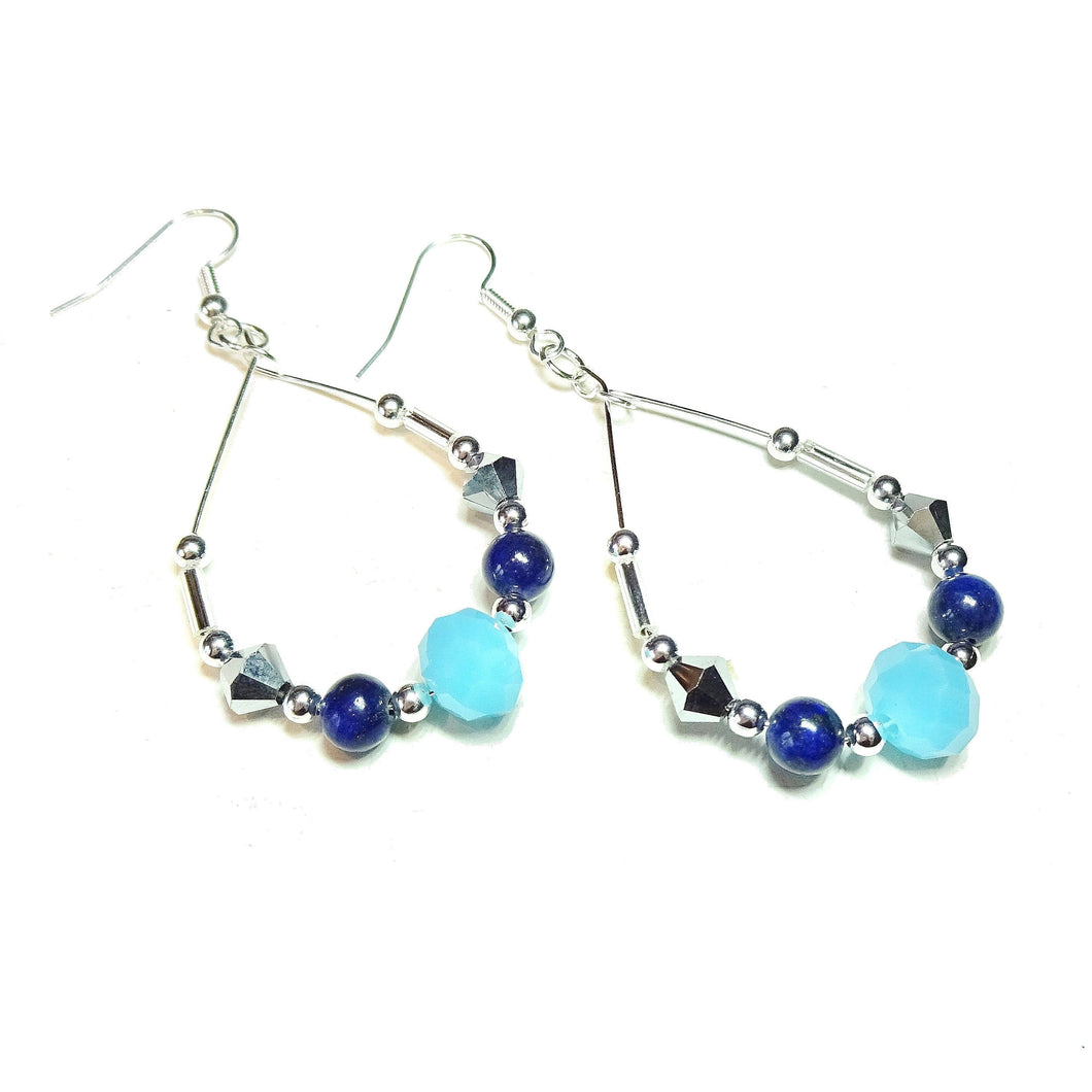 Blue Lapis Lazuli Gemstone & Aqua Czech Glass Hoop Earrings