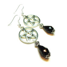 Load image into Gallery viewer, Gothic Pentagram Earrings with Black Crystal