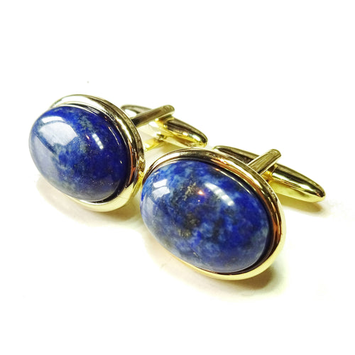 Blue Lapis Lazuli Semi-precious Gemstone Cabochon Cufflinks - Gold Plated