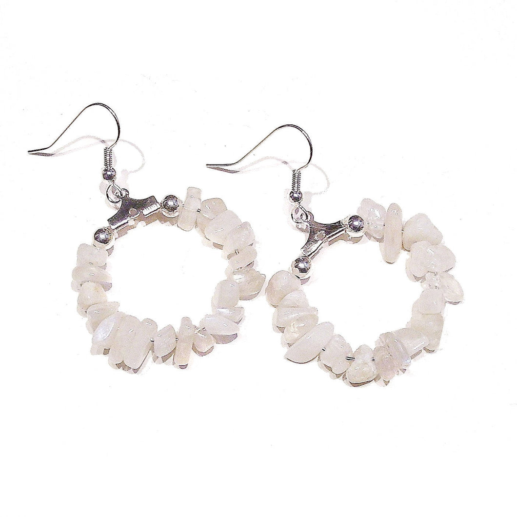 White Moonstone Gemstone Chip Hoop Earrings 25mm
