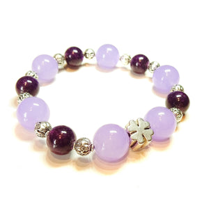 Purple & Lilac Jade Gemstone Stretch Bracelet w/ Four Leaf Clover Charm Approx. 20cm