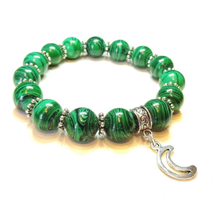 Green Malachite & Tibetan Silver-Tone Handcrafted Stretch Bracelet Approx. 20.5cm