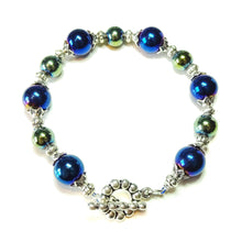 Load image into Gallery viewer, Blue / Green Metallic Haematite Bracelet