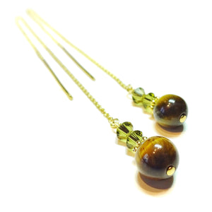 Brown Tiger's Eye Gemstone & Swarovski Crystal Gold Vermeil Long Drop Chain Ear Threads - 172mm