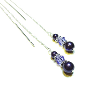 Dark Purple Swarovski Pearl & Sterling Silver Long Drop Chain Ear Threads - 150mm