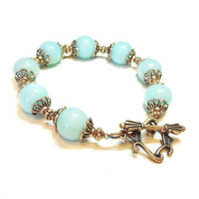Load image into Gallery viewer, Aqua Jade Gemstone & Antique Copper Bracelet 20.5cm