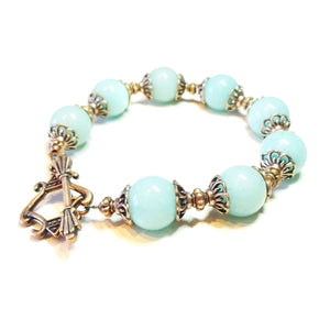 Aqua Jade Gemstone & Antique Copper Bracelet 20.5cm