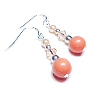 Peach Classic Swarovski Pearl & Crystal Earrings