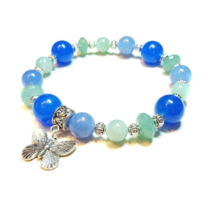 Gemstone Power Bracelet - Quartz, Amazonite, Jade - Tranquility, Healing & Soothing Ap. 21cm
