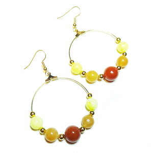 Gold Plated Gemstone Hoop Earrings w/ Carnelian, Lemon Jade & Red Aventurine