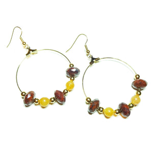 Gold Plated Gemstone Hoop Earrings w/ Faceted Jasper & Red Aventurine