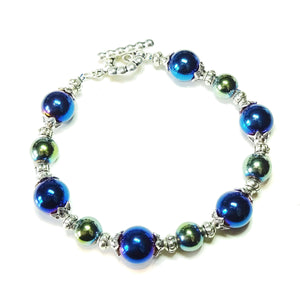 Blue / Green Metallic Haematite Bracelet