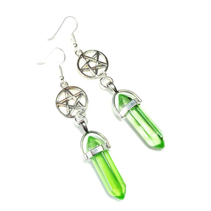Green Gothic Crystal Pentagram Earrings