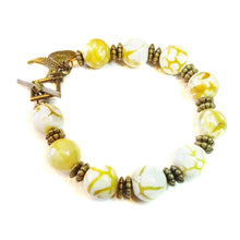 Load image into Gallery viewer, Yellow Leopard Jasper Gemstone & Antique Brass Bracelet 20.5cm